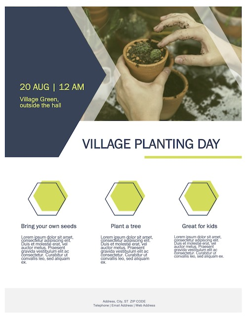 Poster showing the village planting day, any text on the image is also repeated in the transcript on this post
