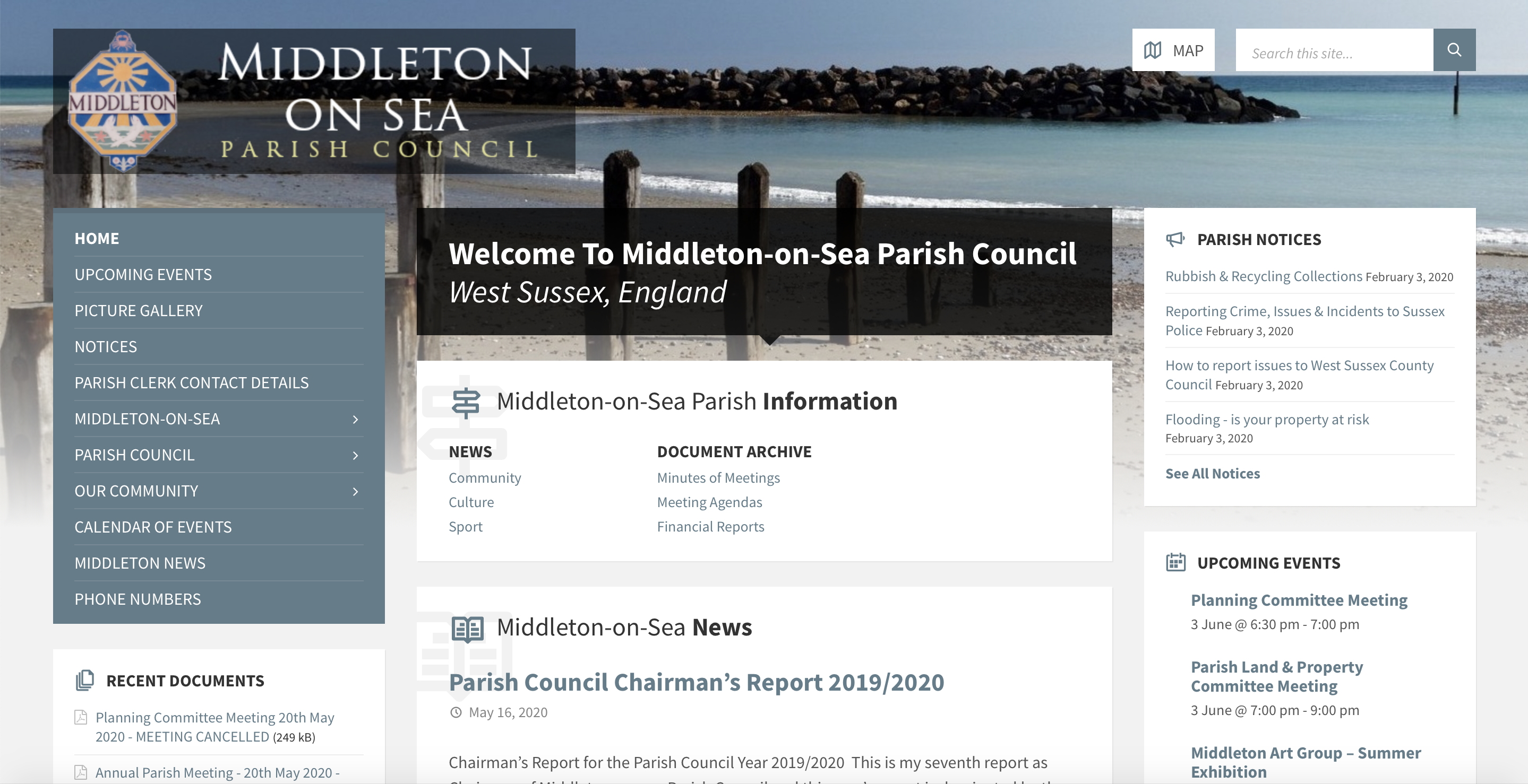 Middleton On Sea Parish Council website